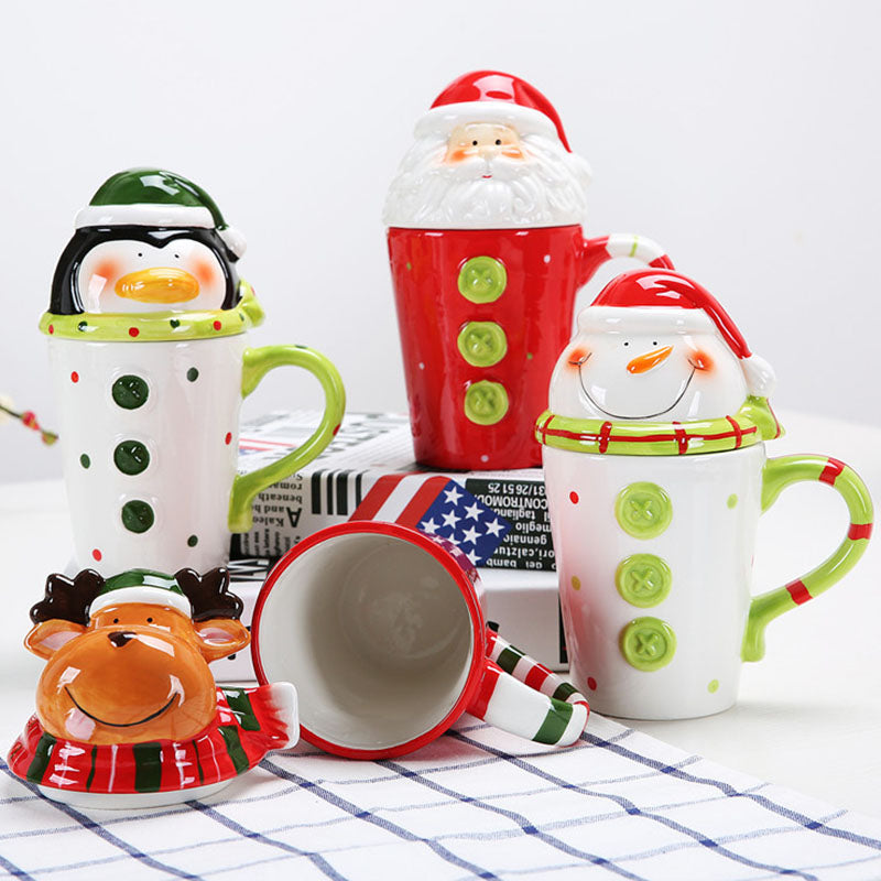 Christmas Ceramic Mugs Funny Travel Tea Coffee Cute Tumbler Santa Claus Snowman Penguin Elk