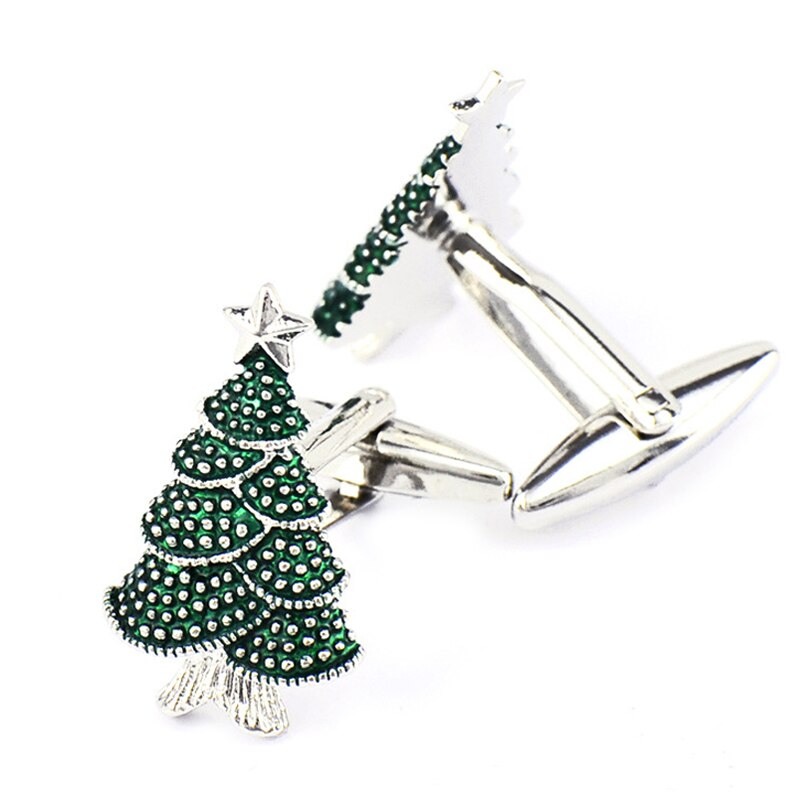 Christmas Tree Cufflinks for Men French Shirt Cuff Links High Quality