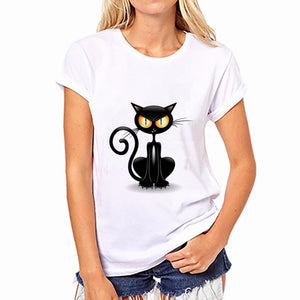 Cat T Shirt Women Summer Fashion Cotton Print