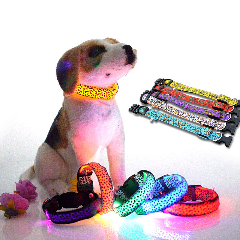 Adjustable Pet Cat & Dog Glowing LED Colllar Neck Collars Size S-XL
