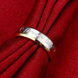 Wedding Couple Rings For Women & Men Engagement Stainless Steel Gold Plated Forever Love Jewelry