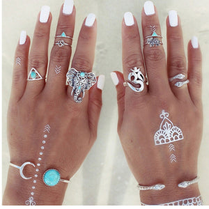 8PCS/Set Boho Bohemia knuckle Ring Vintage Beach Elephant Rings For Women & Men