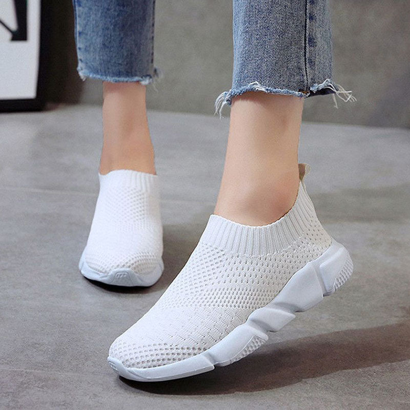 Women Breathable Slip On Flat Shoes Soft Bottom White Sneakers
