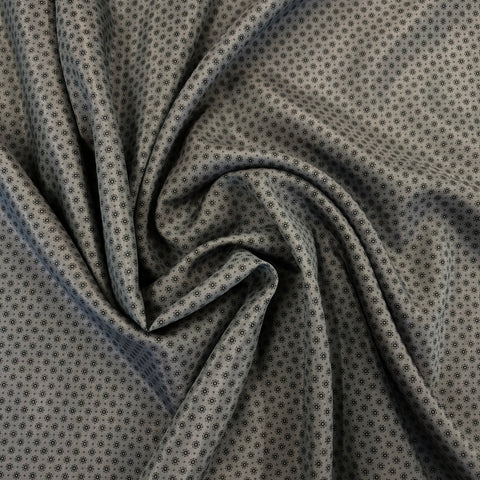 Charcoal Vine Cotton Silk Mix Voile