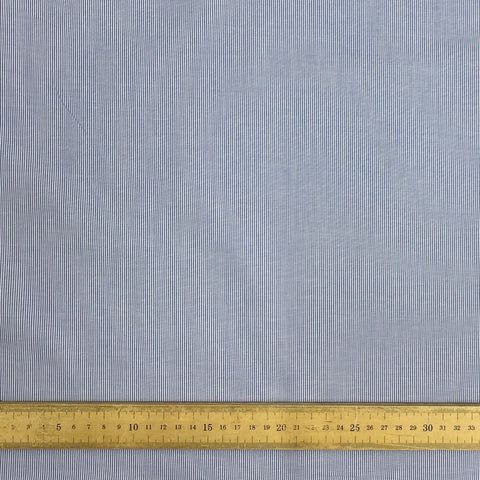 Blue and White fine Stripe Cotton Fabric with rule measurements