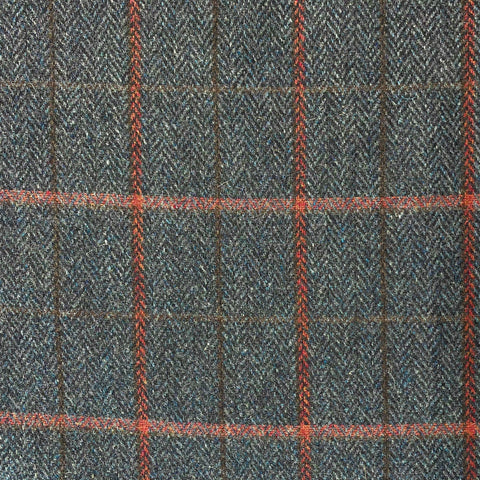 British 100% Wool Check Navy and Vermillion Fabric