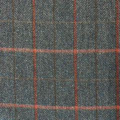 British 100% Wool Check Navy and Vermillion