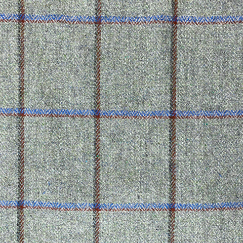 British 100% Wool Check Aqua and Ruby Fabric