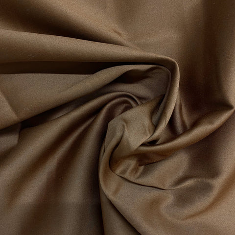 Sateen Stretch Cotton Fabric in Mocha