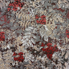 Floral Metallic Brocade Ruby and Taupe