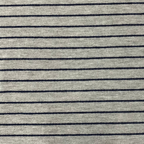 Grey and Navy Stripe French Terry