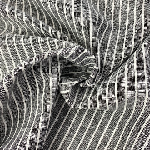 Grey Stripe Linen Mix