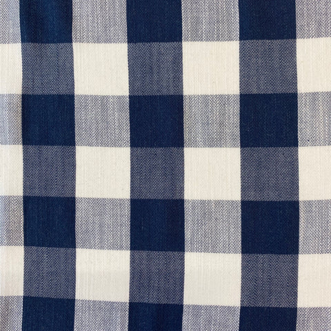 Large check navy and ivory cotton fabric