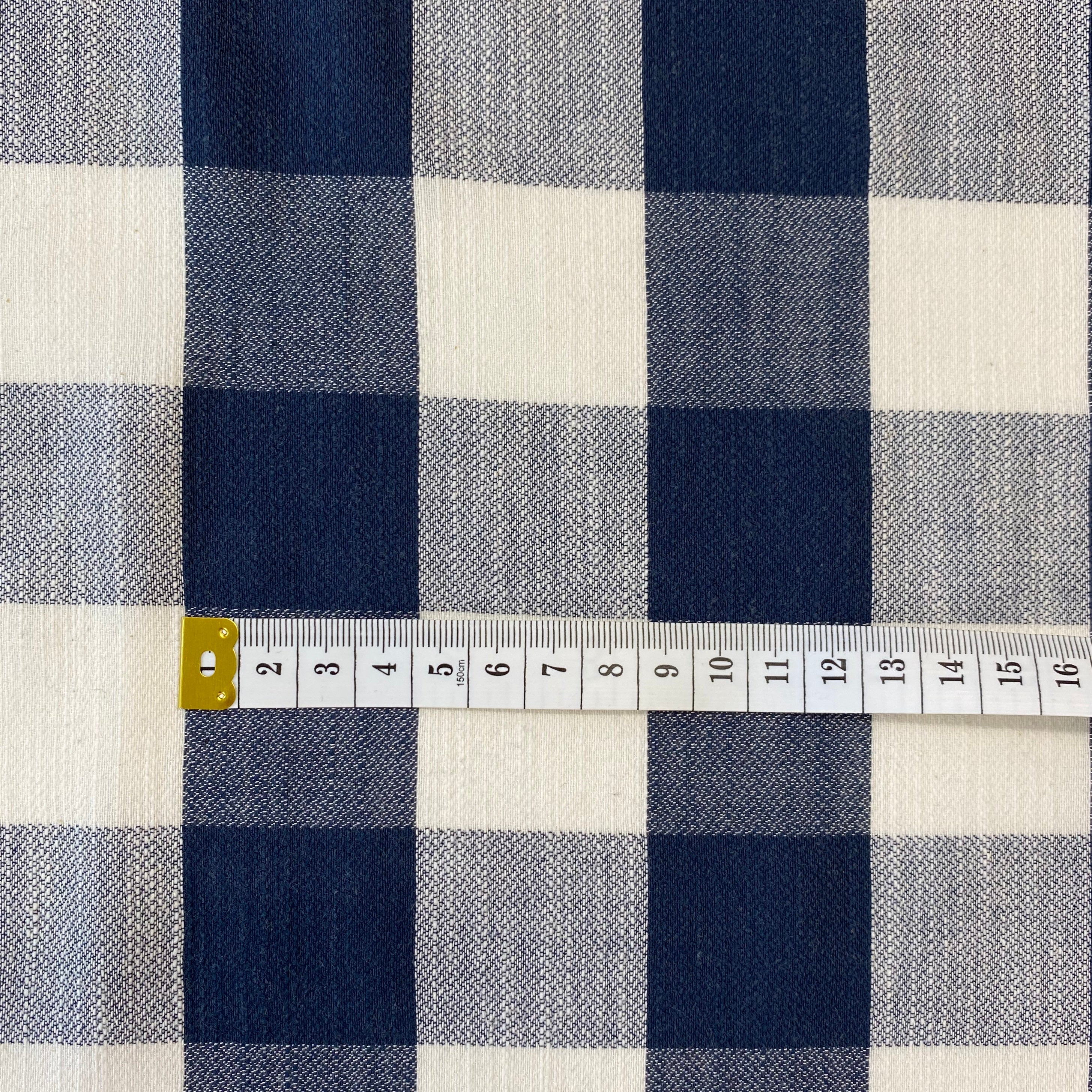 Large Check Navy and Ivory Cotton Viscose