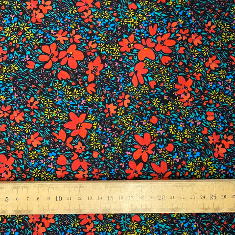 Red, blue and yellow floral Cotton Fabric