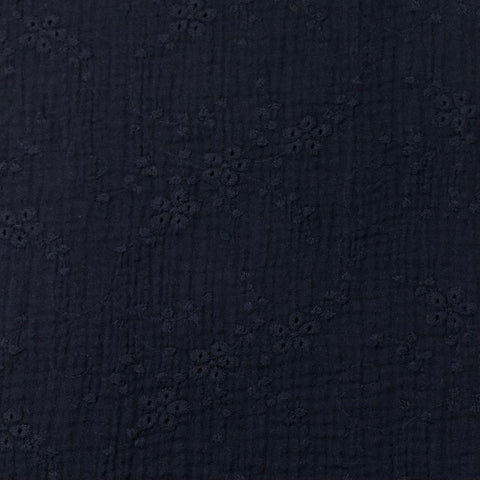 Navy Embroidered Double Gauze Fabric