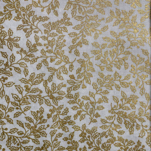 Cream and Gold Ivy Print Cotton