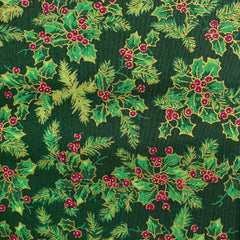 Green and Gold Holly Print Cotton