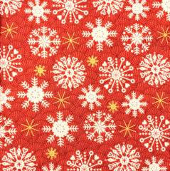 Makower Merry Snowflakes Red