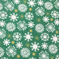 Makower Merry Snowflakes Green