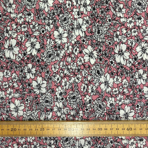 Pink Floral Viscose Fabric