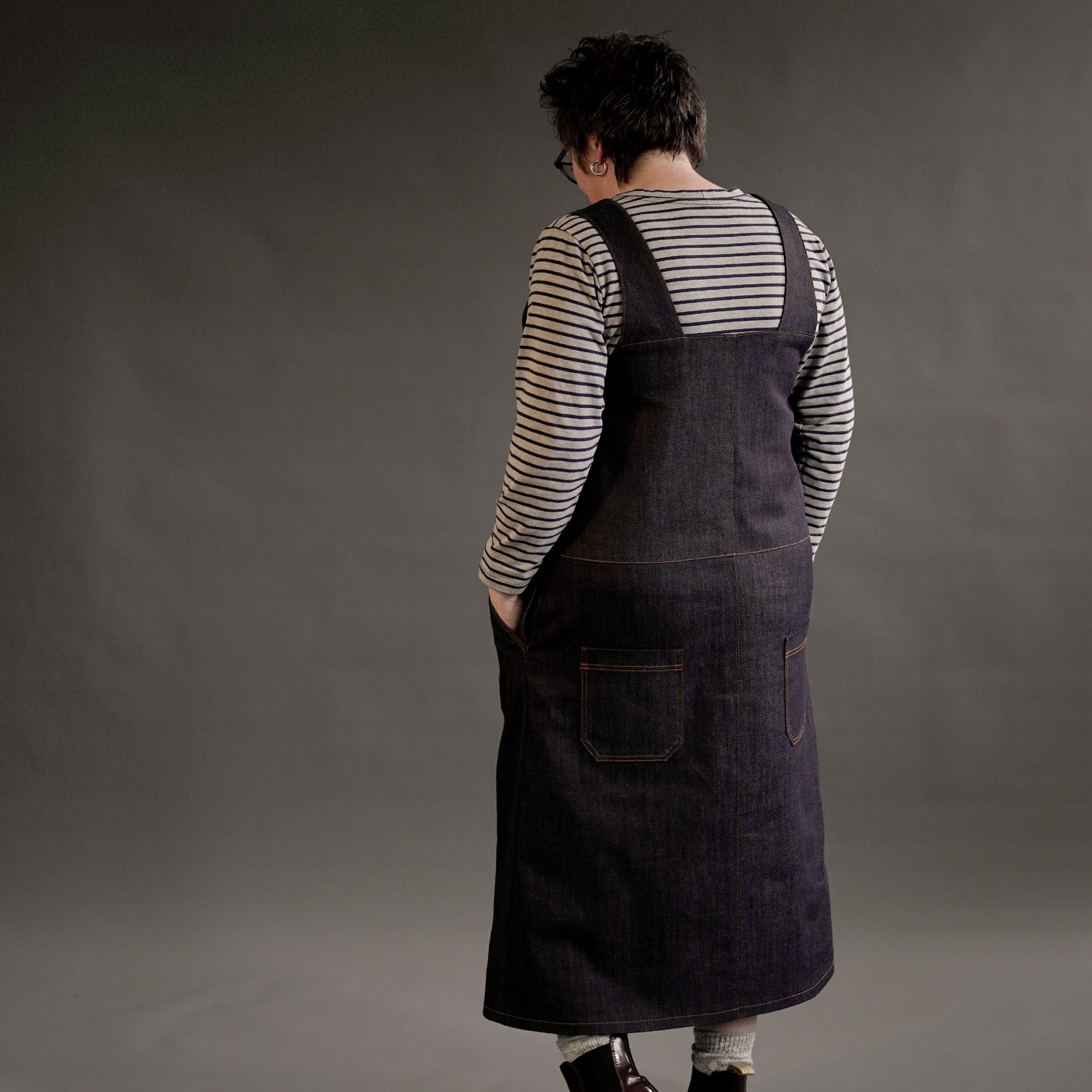Perdita Pinafore Dress in stretch denim