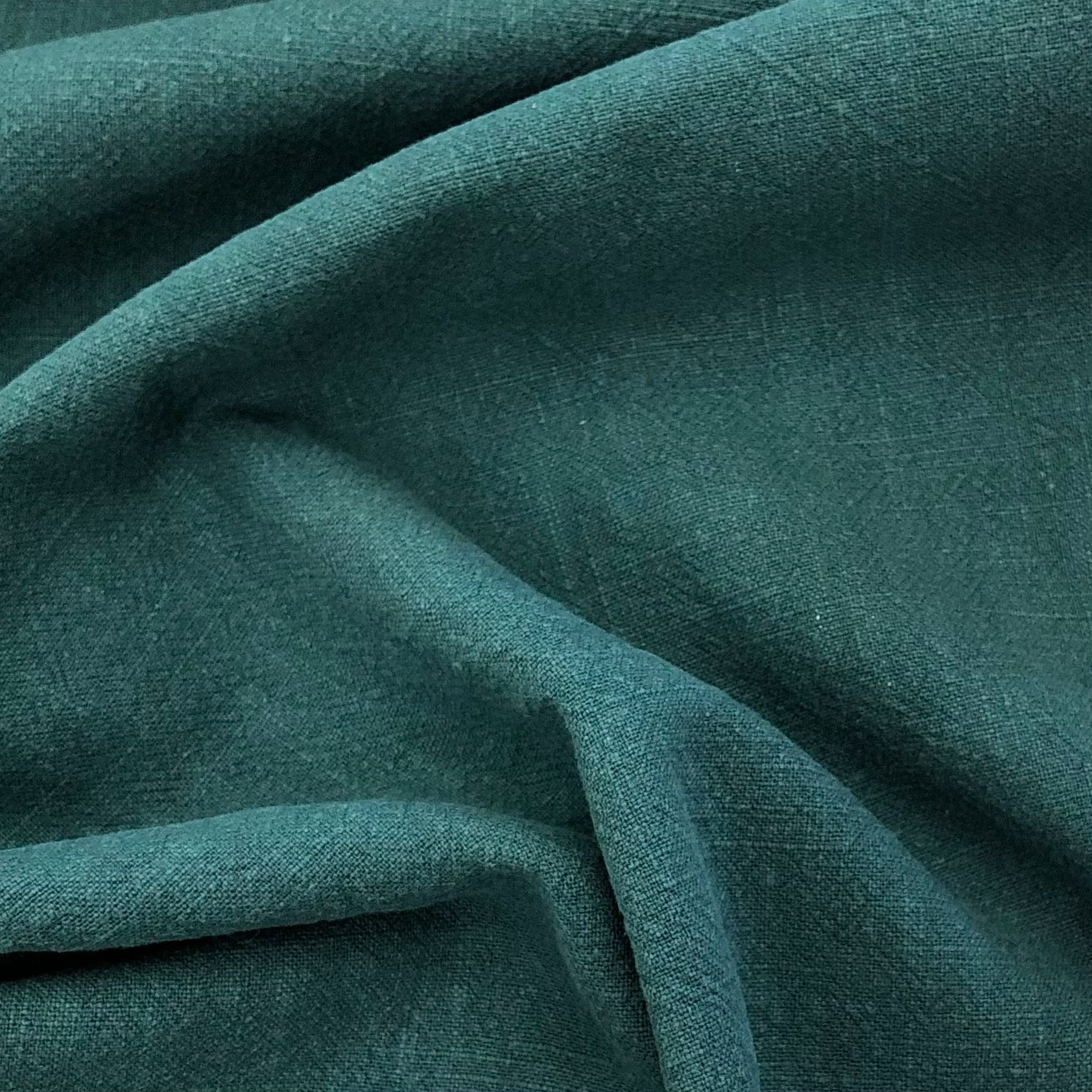 Teal Washed Ramie Linen Fabric
