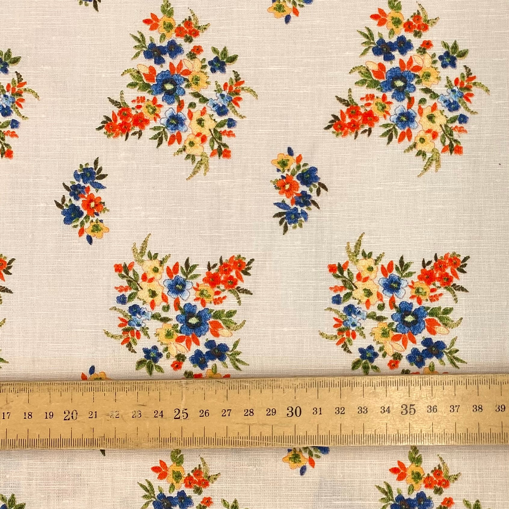 Vintage Posies Linen Cotton Mix Fabric