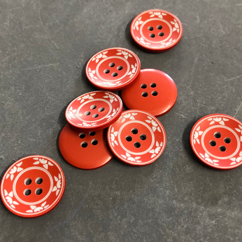 Red Sun Print Buttons