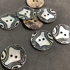Natural Shell and Black Swirl Print Buttons