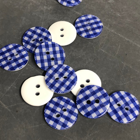 Blue Gingham Check Buttons