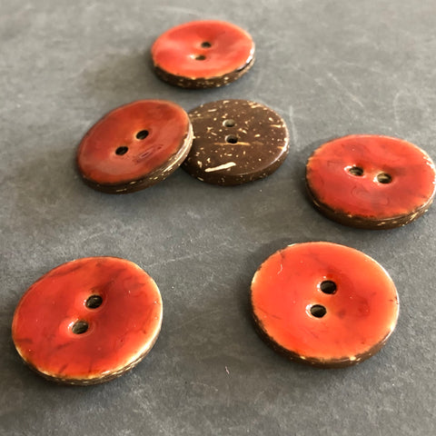 Red Coconut Shell Buttons