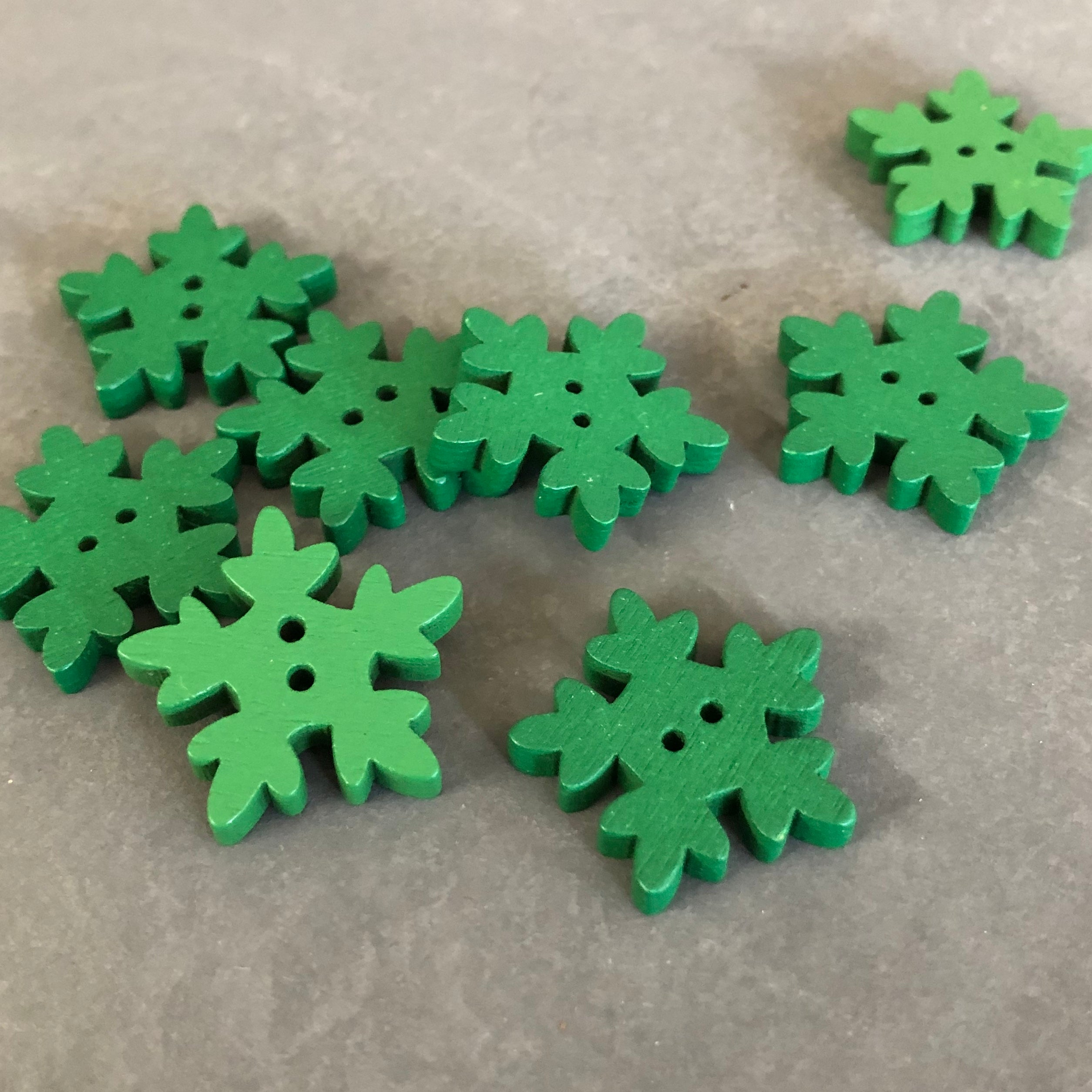 Green Snowflake Buttons