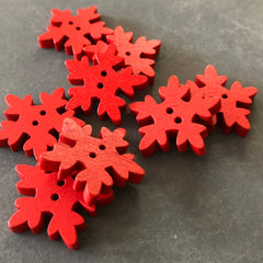Red Snowflake Buttons