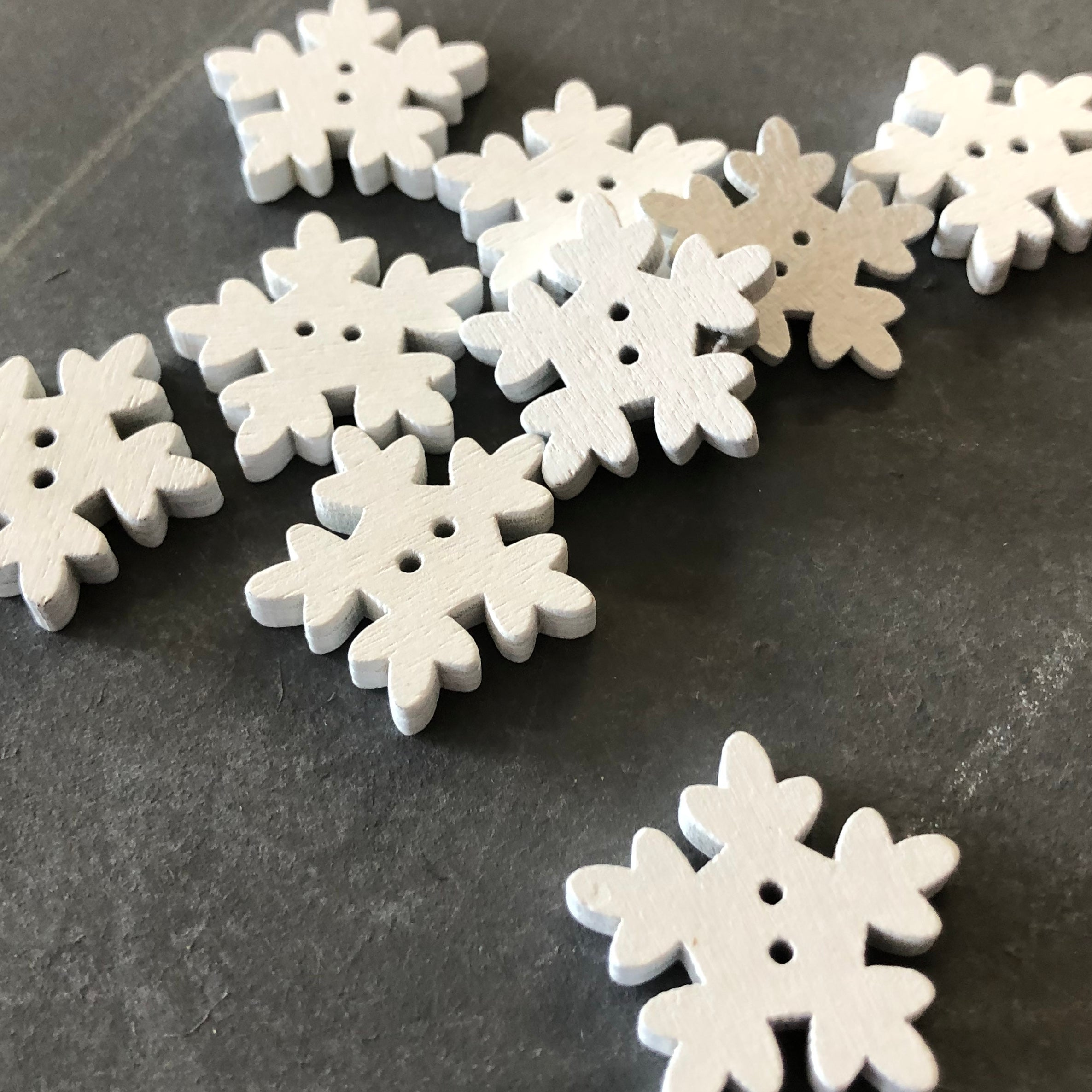 White Snowflake Buttons