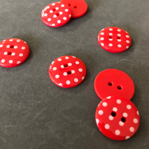 Polka Dot Buttons Red and White
