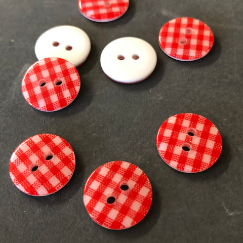 Red Gingham Check Buttons