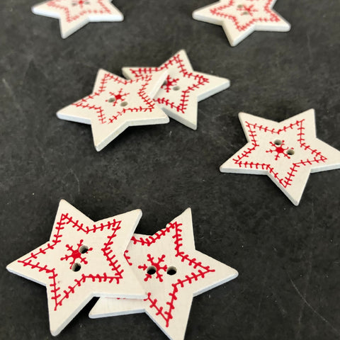 Red and White Star Buttons