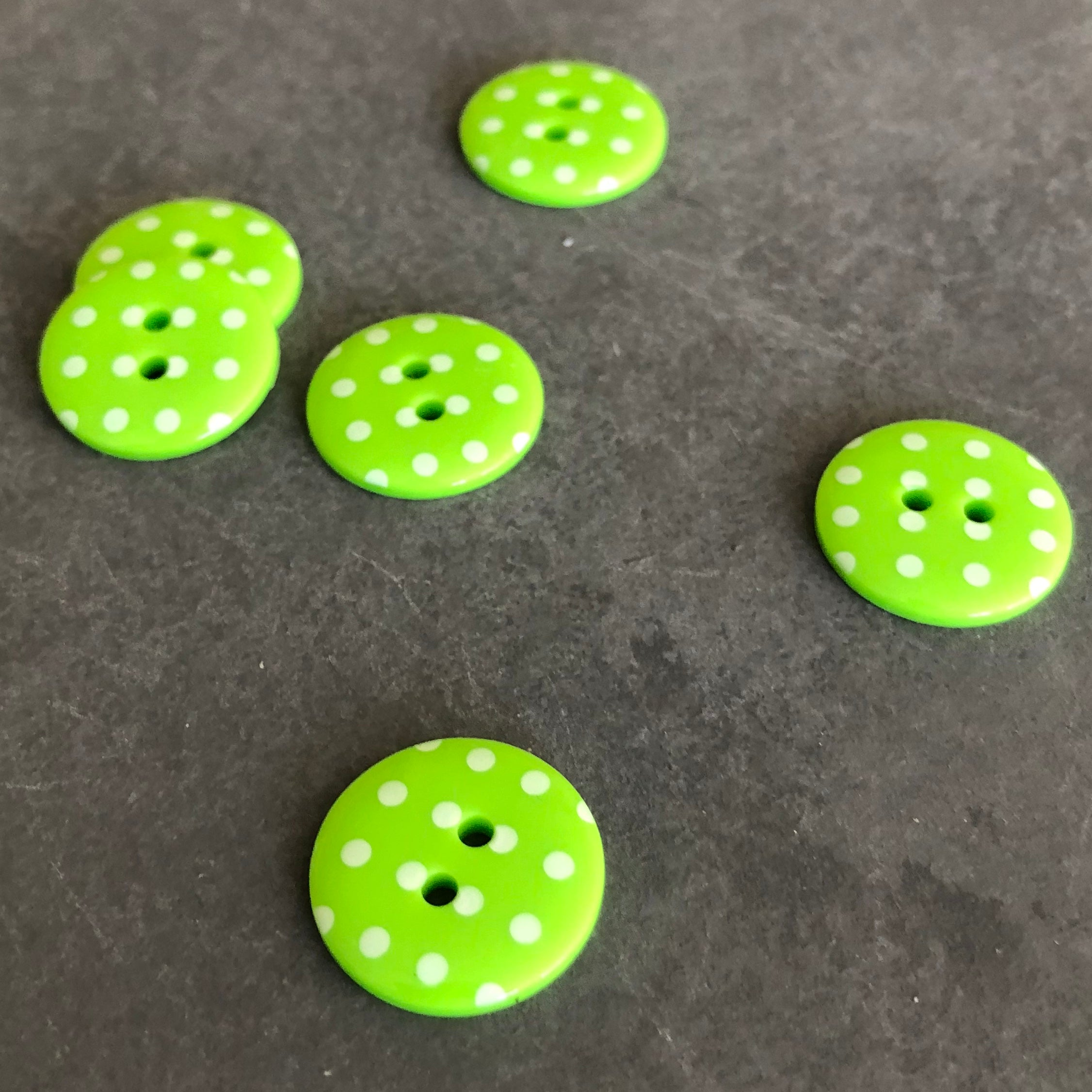 Polka Dot Buttons Lime Green and White
