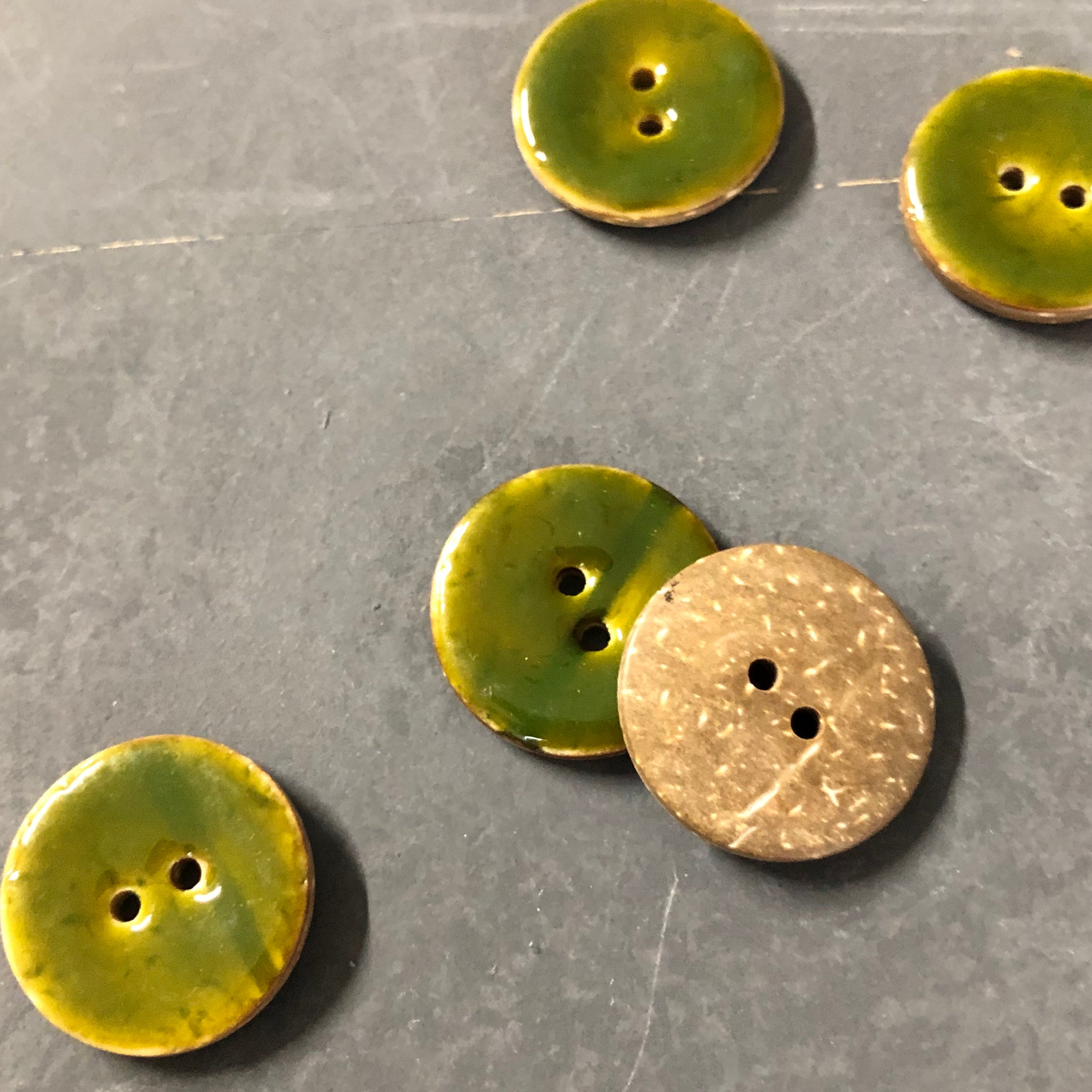 Green Coconut Shell Buttons