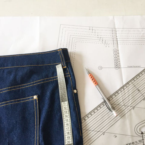 jeans and paper pattern