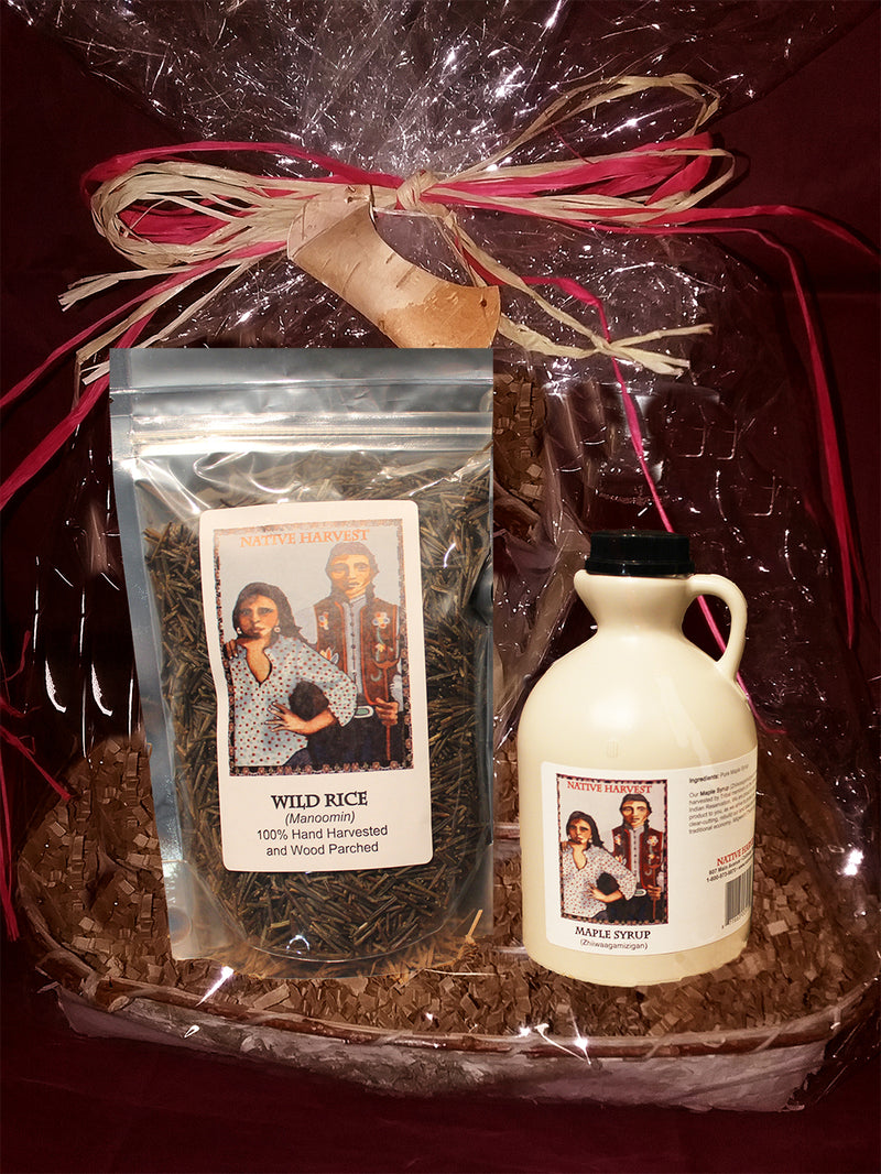 Ojibwe Wild Rice and Maple Syrup Gift Basket