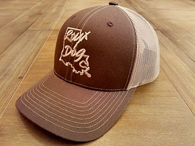 Roux Dog Logo Mesh Back Cap -- Brown/Khaki