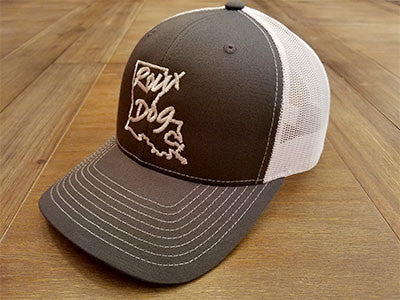 Roux Dog Logo Mesh Back Cap -- Charcoal/White