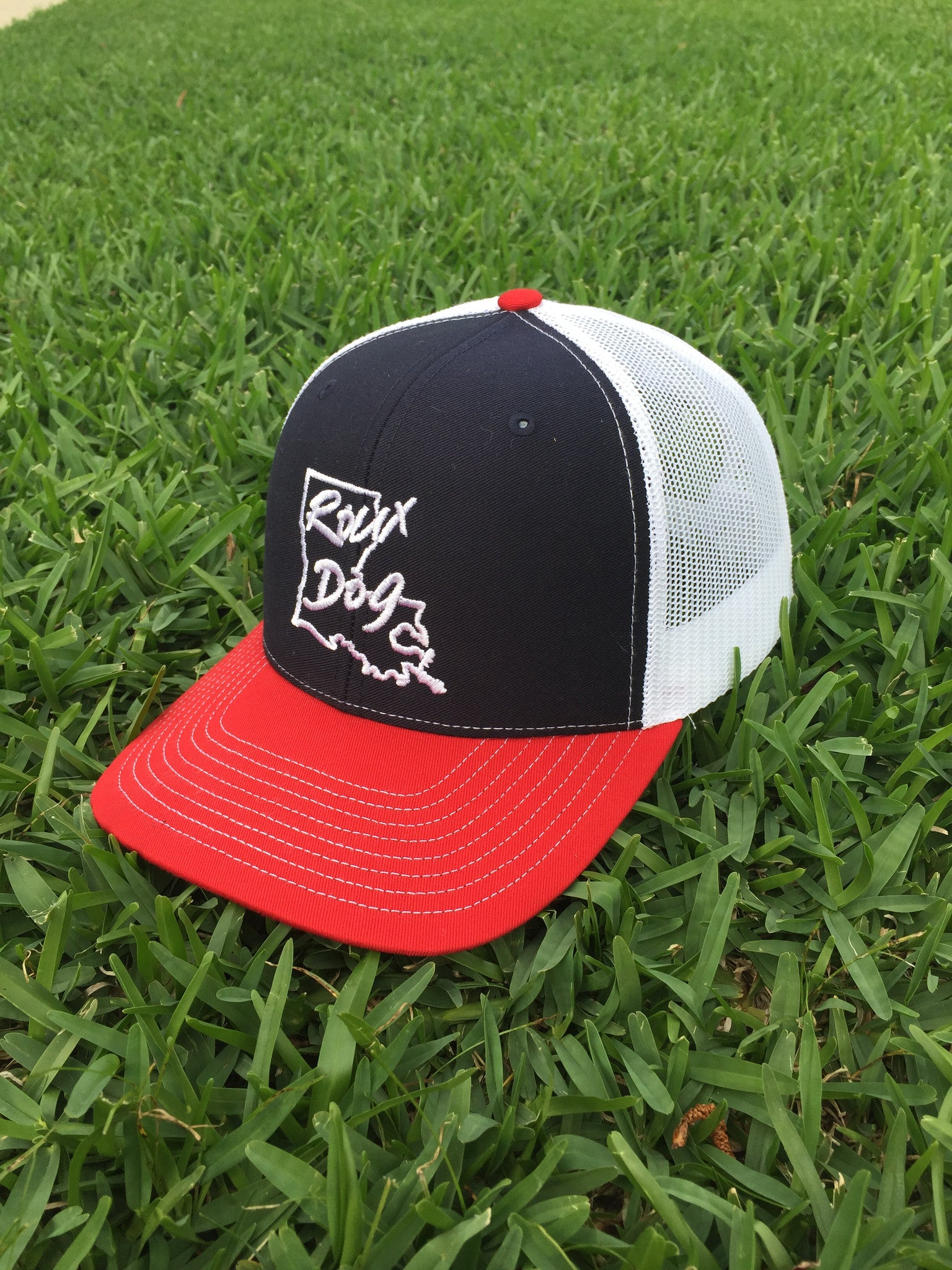 Roux Dog Logo Mesh Back Cap -- Navy/White/Red