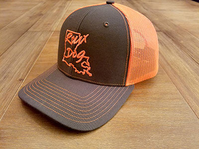 Roux Dog Logo Mesh Back Cap -- Neon Orange