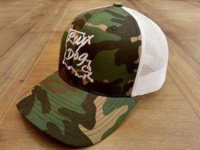 Roux Dog Logo Mesh Back Cap -- Camo/White