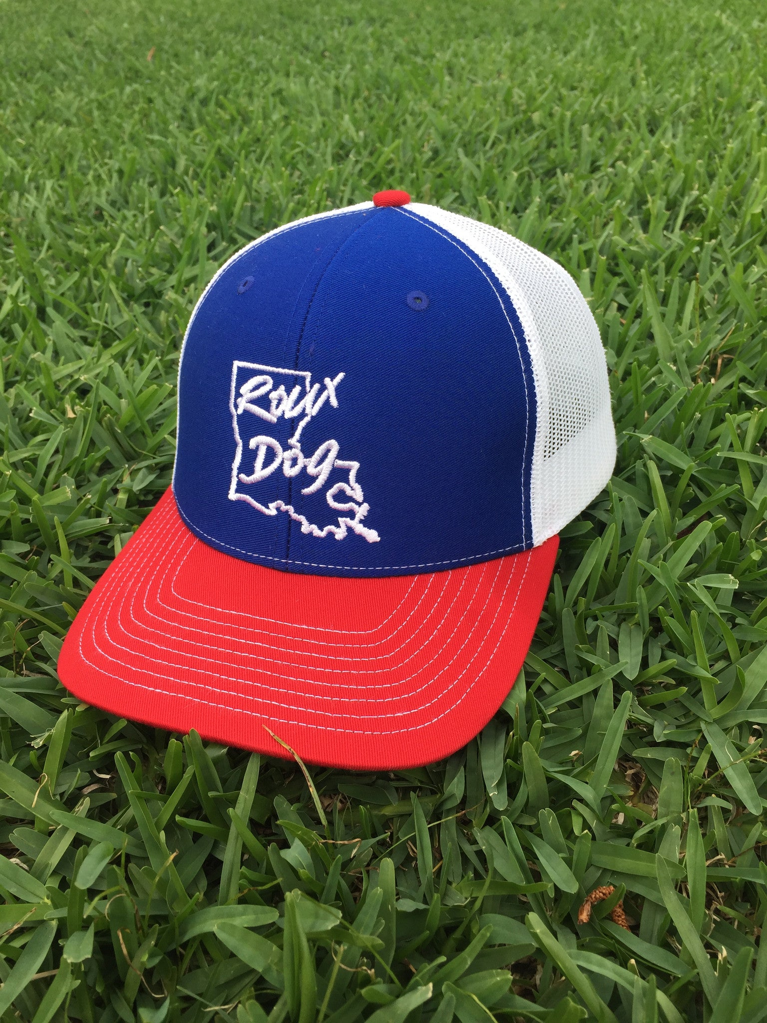 Roux Dog Logo Mesh Back Cap -- Royal/White/Red