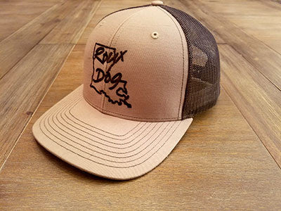 Roux Dog Logo Mesh Back Cap -- Tan/Chocolate