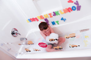 tractor construction design splash guard for bathtub playing in bathtub